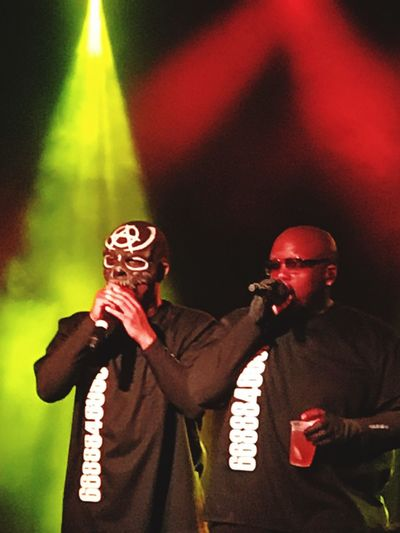 Tech N9ne Arts Culture And Entertainment Two People Krizz Kaliko Real People Music Standing Waist Up Microphone Musician Performance Nightlife Stage - Performance Space Night Holding Leisure Activity Indoors  Lifestyles Togetherness Men Stage Light Singer