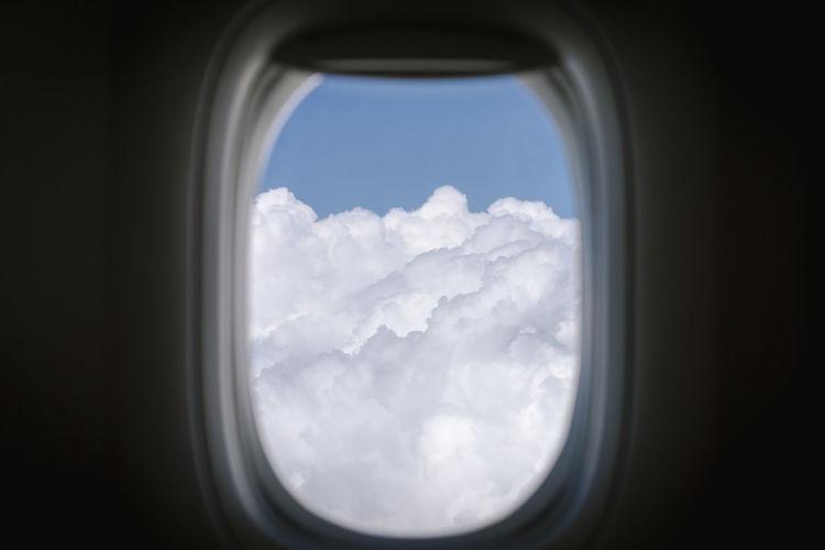 View of sky seen through airplane window