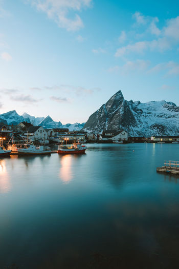 late afternoons in the village of Hamnøy. find more travel inspiration at https://www.instagram.com/simonmigaj Hamnøy,no Norge Norway Winter Adventure Backgrounds Dusk Fishing Fjord Landscape Mountain Mountains Snow Sunset Village Wallpaper
