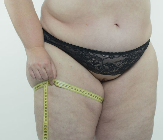 Woman making diet BBW* Diet Obesity Woman Abdomen Bra Cellulite Centimeter Dietary Fat Female Food Health Human Large Measure Obesity Overweight Pretty Rounding Underwears Weight