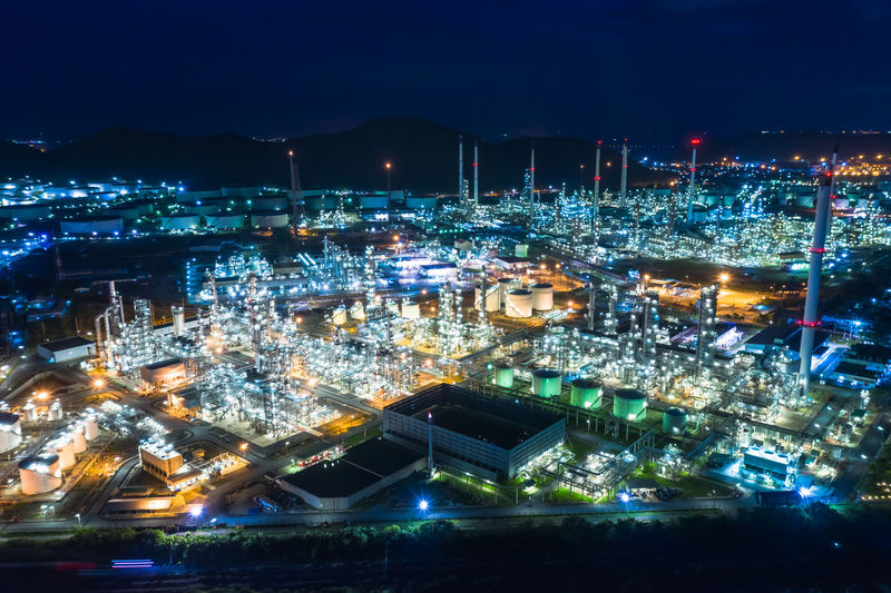 Oil and gas refinery industry factory zone at laem chabang chon buri thailand twilight landscape