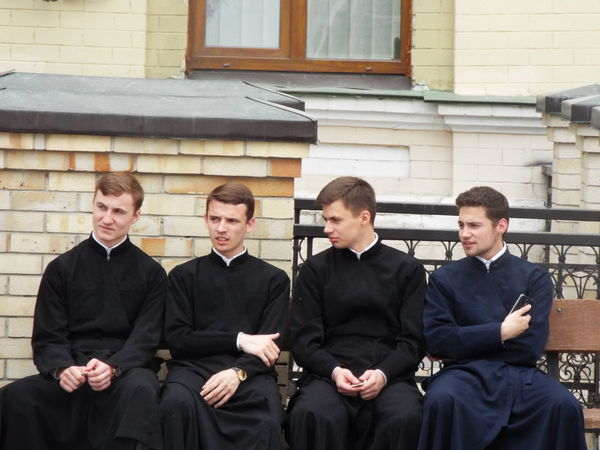 Practicing vicars sat on a bench in Kiev, Ukraine. Day Eastern Europe Kiev Kiev Ukraine Photojournalism Religion Sat Down The Photojournalist - 2016 EyeEm Awards The Street Photographer - 2016 EyeEm Awards Ukraine