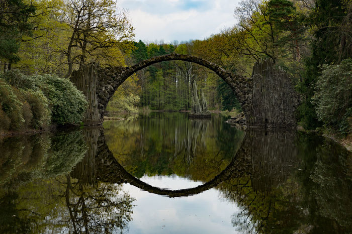 Stonebridge with almost perfect circle Arch Architecture Beauty In Nature Bridge Bridge - Man Made Structure Circle Cloud - Sky German Bridge Germany Lake Lord Of Therings LOTR Nature No People Outdoors Reflection River Sky Stone Symmetry Tranquility Tree Water The Great Outdoors - 2017 EyeEm Awards The Architect - 2017 EyeEm Awards EyeEmNewHere