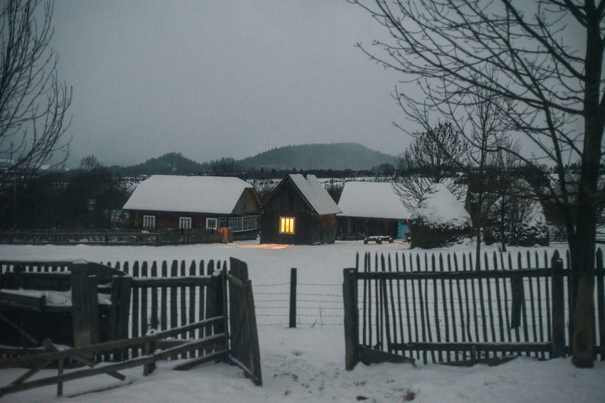 Transcarpathian region. Ukraine Cold Temperature Evening House No People Outdoors Rural Scene Snow Weather Winter Shades Of Winter