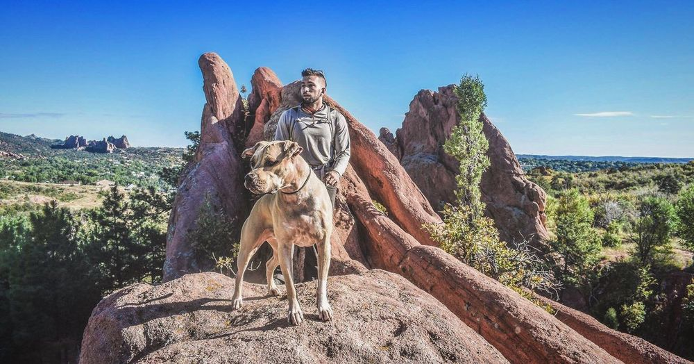 Man with dog standing at red rock canyon national conservation area against sky