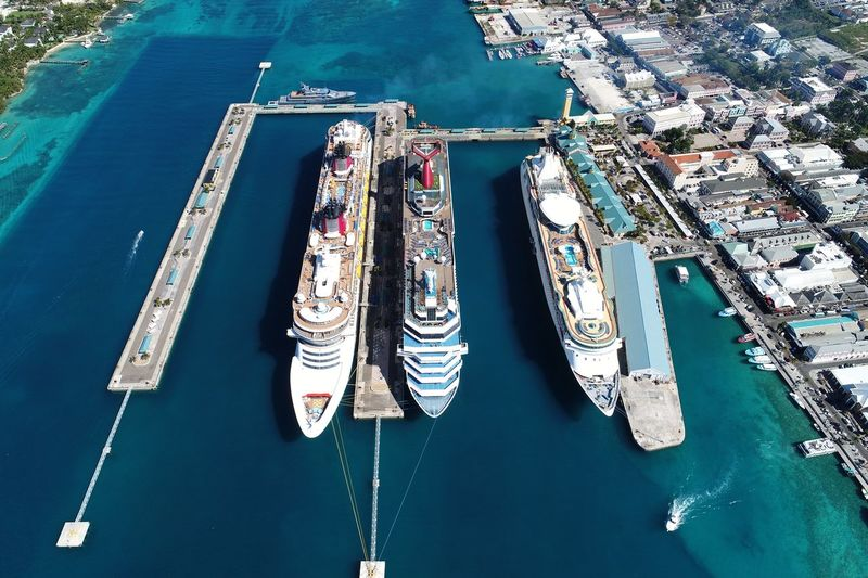 High angle view of cruise ships moored on sea