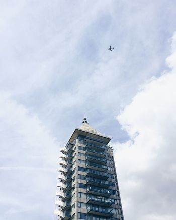 Airplane Airplanes Architecture Building Exterior Built Structure Cloud - Sky Day Flying London London Architecture Looking Up Low Angle View Minimal Minimalism Modern Architecture Modern Building No People Outdoors Plane Sky Skyscraper The Architect - 2017 EyeEm Awards