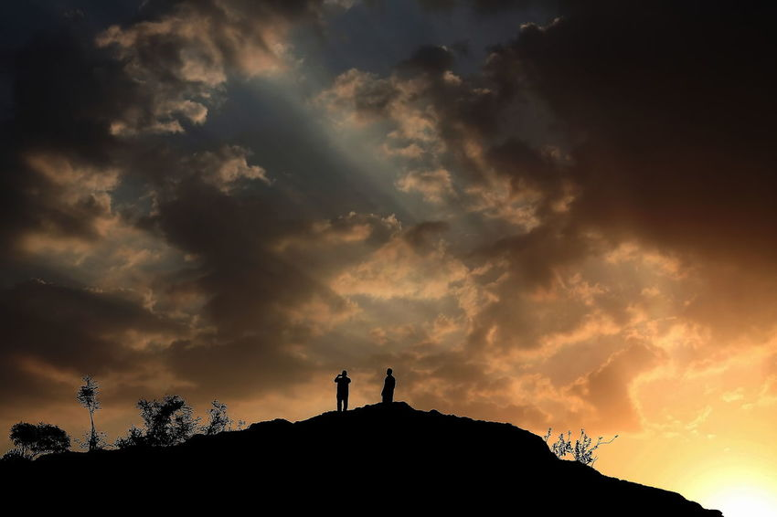 Hike before sun rises Beauty In Nature Cloud Cloud - Sky Cloudy Dramatic Sky Dusk Low Angle View Moody Sky Nature Outdoors Overcast Scenics Silhouette Sky Sunrise Sunset Weather