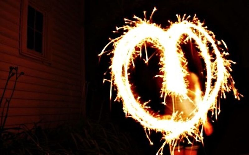 Long shutter. Long Exposure Sparklers Heart