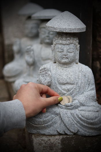 Hand Stone Material Solid Place Of Worship Belief Spirituality Human Body Part Human Hand Art And Craft Sculpture Coin