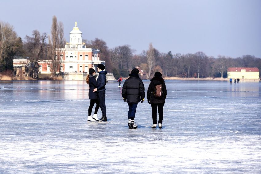On a frozen lake -winter Heiliger See Potsdam Frozen Nature Winter Ice Rink Cold Temperature Winter Sport Ice-skating Full Length Leisure Activity Outdoors Ice Skate Friendship Real People Day Warm Clothing People Adult