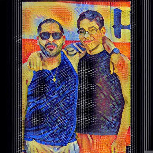 Coney Island Fatherhood Moments Son Mosaic Art Family Bond Standing Front View Multi Colored Creativity Young Adult Casual Clothing