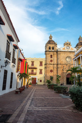 View of San Pedro Claver Church in Cartagena, Colombia American Architectural Architecture Beautiful Bolivar Building Cartagena Cartagenadeindias Castle Cathedral Church City Colombia Colonial Downtown Façade Landmark Sanpedro Southamerica Spanish Street Town Tropical Unesco Urban