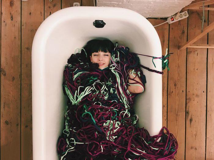 Bath Yarn Woman Art Smiling Wooden Floor Nap Time