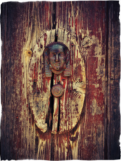 weathered wooden door with door knocker 3 Art Art And Craft Brown Color Brown Colour Close Up Creativity Door Knocker Full Frame Human Representation No People Outdoors Pharao Red Color Weathered Weathered Wood Wood - Material Wood Door Wooden