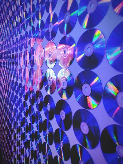Disc Collage Reflection Disco Lights Disc Purple Pixelated Technology Innovation Multi Colored Cyberspace Full Frame Illuminated Blue Backgrounds Pattern Computer Crime