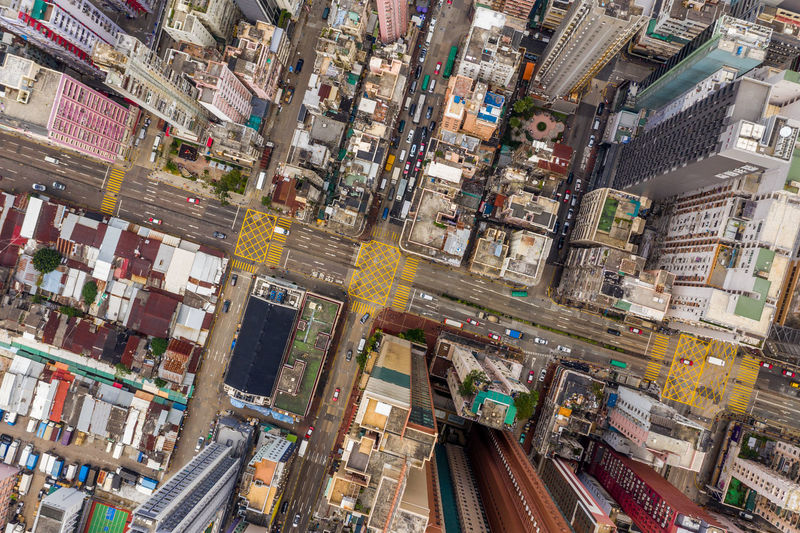 Hong Kong City Architecture Building Exterior Transportation Street Aerial View High Angle View Road Cityscape City Life Built Structure Mode Of Transportation Travel Destinations Building City Street Skyscraper Office Building Exterior Traffic No People Car Outdoors