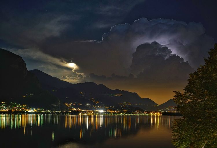 LAKE COMO WITH DRAMATIC SKY AT NIGHT