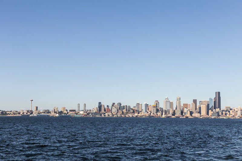 Sea and cityscape against clear blue sky