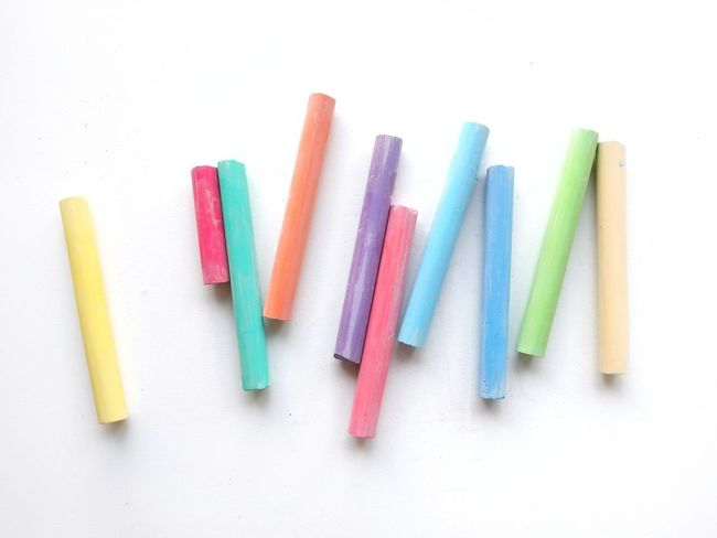 Chalks. Chalk Childhood Color Colors Pastel Colors Multi Colored White Background Variation Education No People Indoors  Close-up