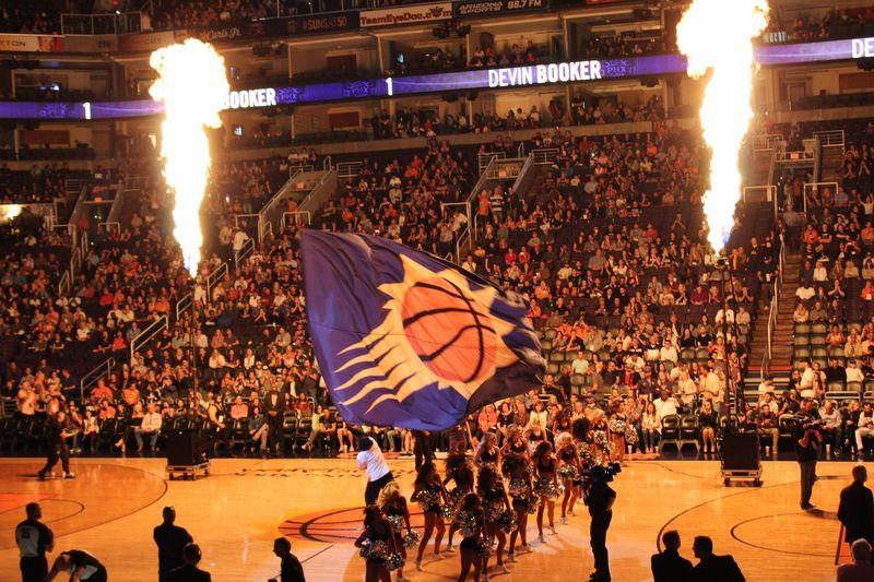 Suns NBA Basketball Crowd Large Group Of People Group Of People Real People Spectator Leisure Activity Celebration Sport Enjoyment Illuminated Lifestyles Men Architecture