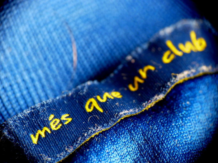 Blue Blue Color Close-up Denim Extreme Close-up Full Frame Jeans No People Symbol Vibrant Color Western Script Yellow