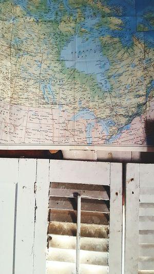 Map Shutters Summer Kitchen Window United States Vintage Old