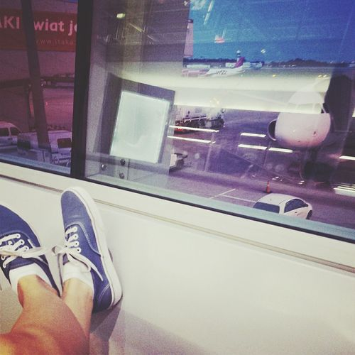 Airport Waiting Airportphotography Vans Off The Wall Blue Vans Plane In The Airport Waiting For Planes Girl