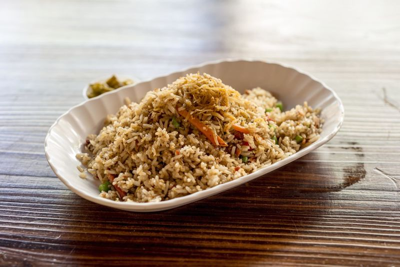 Fried Rice with Silver Fish Bowl Chinese Food Close-up Fish Focus On Foreground Food Fried Rice Indulgence Meal No People Ready-to-eat Rice Selective Focus Served Serving Size Singapore Food Still Life Temptation
