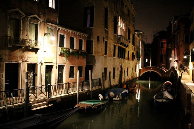 Night Reflection Architecture Illuminated Building Exterior City No People Outdoors Gondola - Traditional Boat Canal Venice, ıtaly Bridge - Man Made Structure Reflection Cityscape City Cultures Travel Tourism Travel Destinations Water Nautical Vessel City Life Walking