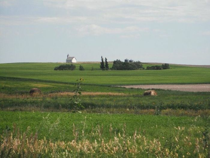 Stonehenge, Saskatchewan Church Country Church Off In The Distance Green Country