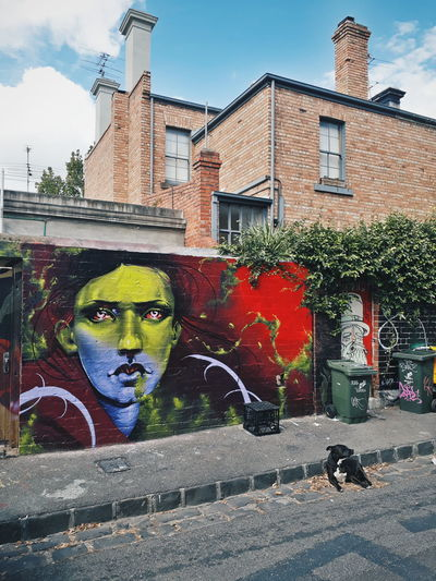 Fitzroy Architecture Building Building Exterior Built Structure City Creativity Dog Graffiti Human Representation Melbourne Multi Colored Mural No People Outdoors Paint Street Street Photography Streetart Streetphotography