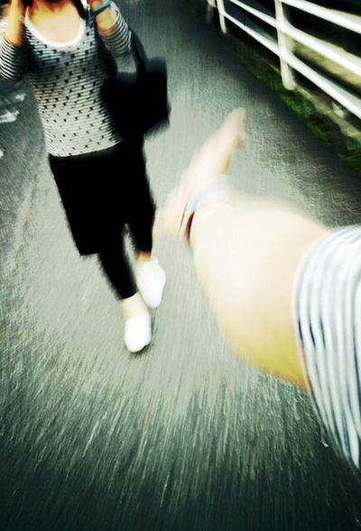 Yolo Evening Toghetherness Stripes IPhoneography Eveningwalk Date Walking Around Modelgirl Beautifulgirl People Photography W/Aya Hand Comeon Whoami Low Section Human Leg High Angle View Motion Human Body Part Real People Young Adult An Eye For Travel