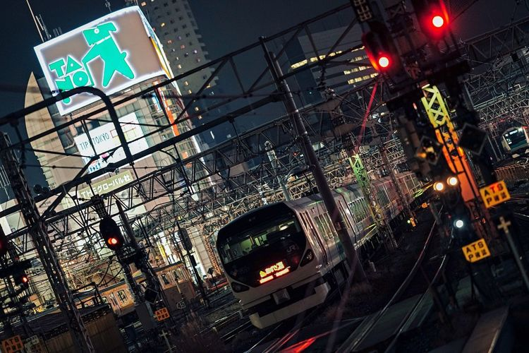 Tokyo Tokyo,Japan Illuminated Night City Road Sign Transportation Communication No People Mode Of Transportation Symbol Building Exterior Information Built Structure Land Vehicle