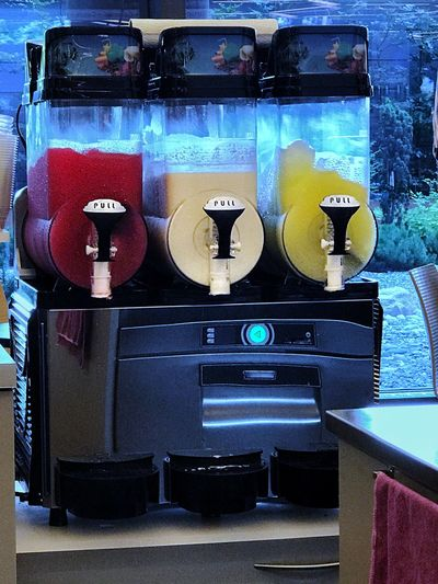 Ice Cream Machine Ice Crystals Slush Indoors  No People Day Technology Red Yellow White Food Stories