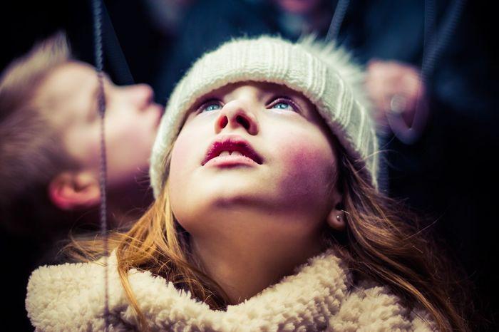 Look Up Winter Portrait Beauty Kids Child Night Outdoors Nightphotography