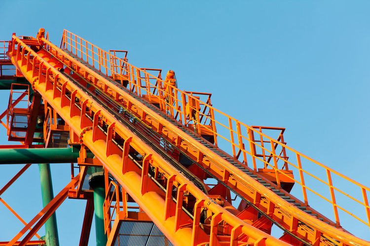 Roller Coaster Track Fun Roller Coaster Track Amusement Park Architecture Blue Built Structure Clear Sky Day Fun Park No People Outdoors Roller Coaster Roller Coaster Structure Sky Theme Park