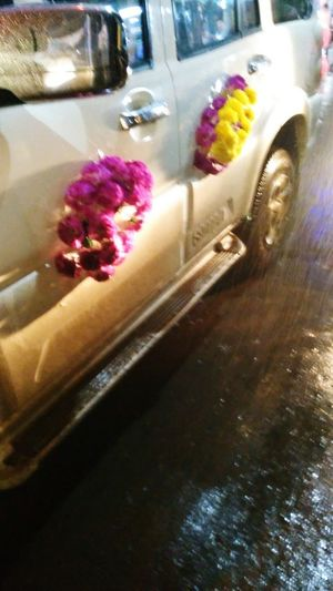 A Flower decorated Car on Road Flower Indoors  Freshness No People Close-up Food Water