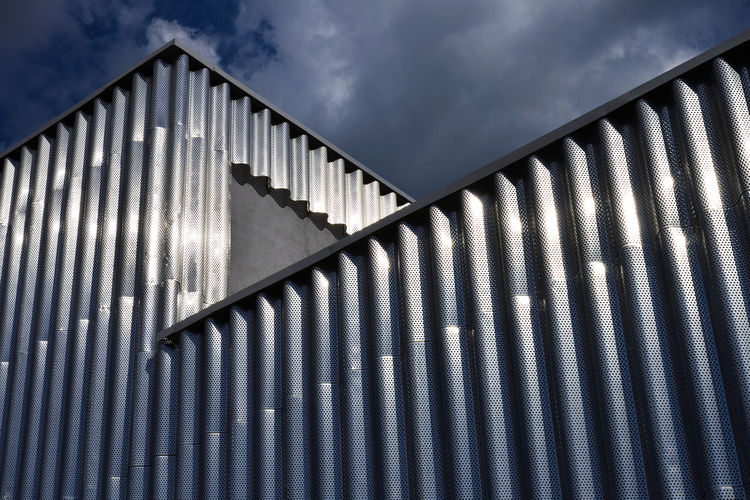Corrugated Shine Europe Eastern Europe Russia Moscow, Russia Moscow Urban City Light Exterior Outdoors Sky Architecture Built Structure Building Exterior Corrugated Corrugated Iron Building Low Angle View Pattern Metal No People RU643_MOSCOW_AK RU643_RUSSIA_AK
