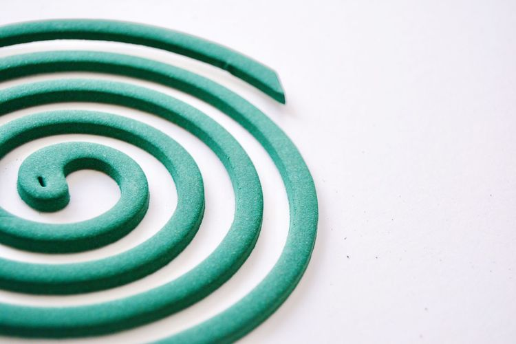Mosquito coils Spiral Green Color White Background No People Close-up Swirl Freshness Coil Vortex Summer