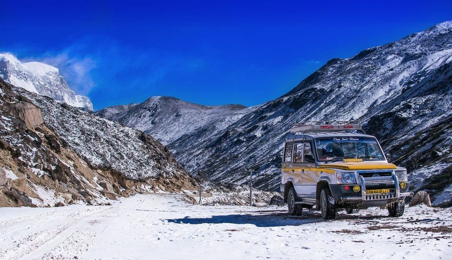 EyeEmNewHere Transportation Mode Of Transport Travel Snow Mountain Cold Temperature Winter Sky Landscape First Eyeem Photo