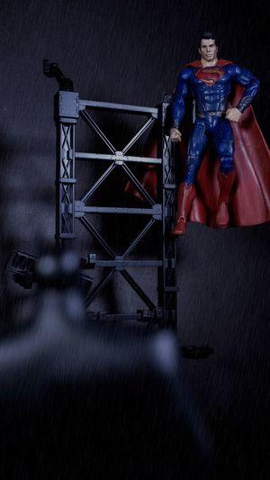 Do you bleed? You will Batman Superman Supermanvsbatman DC DCcomic rain Rain Photoshop Edit Toys Toy Photography Toyphotography