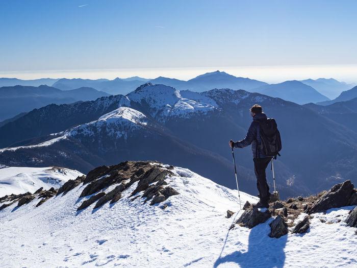Trekking scene in the italian alps