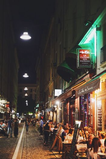 La cuisine des mamans (1/3) France Restaurant Illuminated Night Large Group Of People Men Lighting Equipment Architecture Built Structure City Life Communication Lifestyles