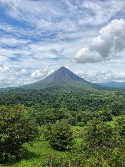 Arenal Volcano Fortuna Arenal Volcano National Park Costa Rica Volcano Cloud - Sky Sky Beauty In Nature Plant Landscape Tranquility Green Color Mountain No People Tranquil Scene Idyllic