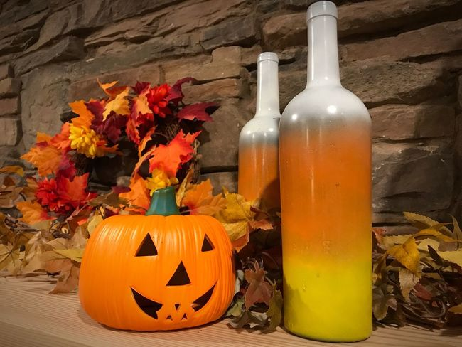Halloween Pumpkin Table No People Autumn Indoors  Halloween Day Flower Nature Freshness Close-up Decoration Bottle Candy Corn