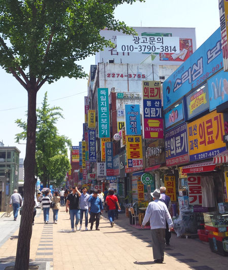Seoul Seoul, Korea Architecture Building Exterior Built Structure City City Life Crowd Day Group Of People Insadong Lifestyles Men Nature Non-western Script Outdoors People Real People Street Text Tree Walking Women