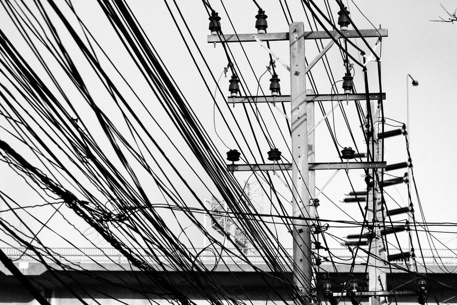 LINE Lines And Shapes Lines In The Sky Sky Cable Electric Lines Background Black And White