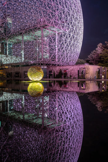 HUAWEI Photo Award: After Dark Architecture Building Exterior Built Structure Circle Geometric Shape Illuminated Lake Luxury Nature Night No People Outdoors Purple Reflection Shape Sky Sphere Travel Destinations Water Waterfront