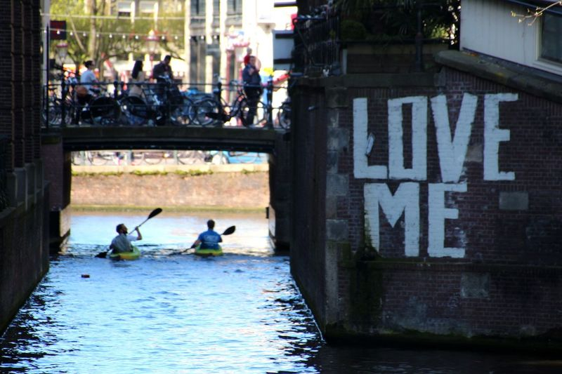 Real People Outdoors Water Kajak Love Me Graffiti Street Photography Bycicle Amsterdam